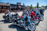 Motorcycles are lined up in front of the Sturgis Harley Davidson store during the 80th annual Sturgis Motorcycle Rally on Friday, Aug. 14, 2020, in Sturgis, S.D. (Amy Harris)