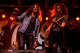 Ehab Omran, left, and Justin Young of South of Eden perform at the Full Throttle Saloon during the 80th annual Sturgis Motorcycle Rally on Friday, Aug. 14, 2020, in Sturgis, S.D. (Amy Harris)