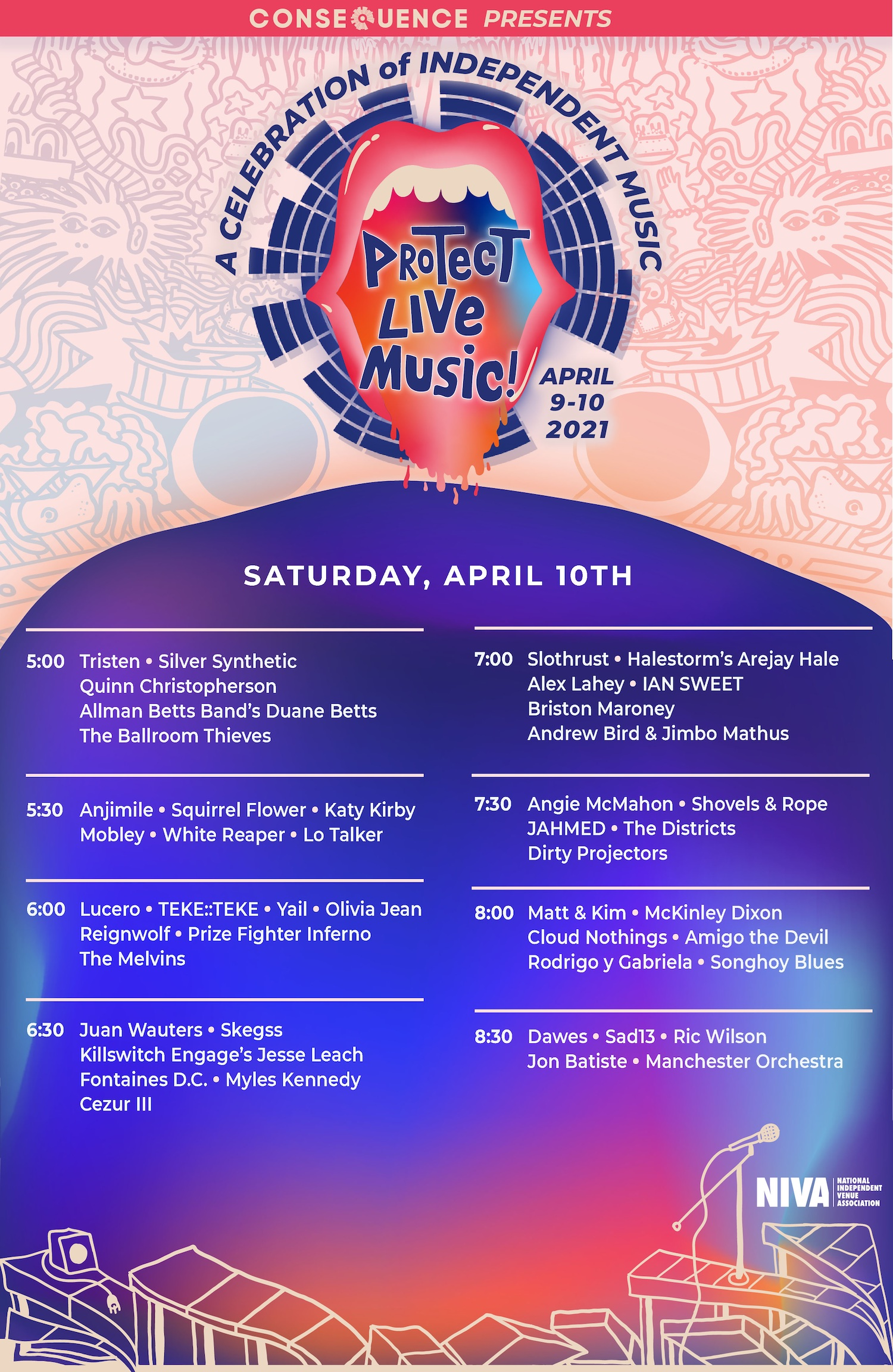 Saturday Consequence of Sound Protect Live Music Daily Schedule Poster FINAL